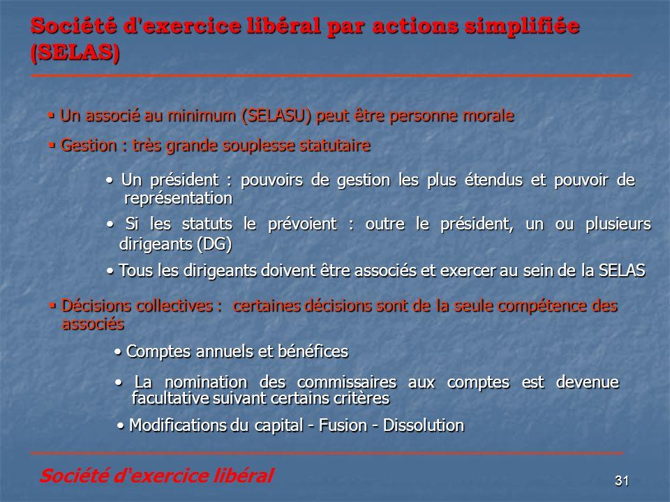 31 Société d'exercice libéral par actions simplifiée (SELAS) Modifications du capital - Fusion - Dissolution Modifications du capital - Fusion - Disso