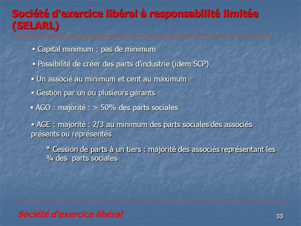 33 Société d'exercice libéral à responsabilité limitée (SELARL) * Cession de parts à un tiers : majorité des associés représentant les ¾ des parts soc