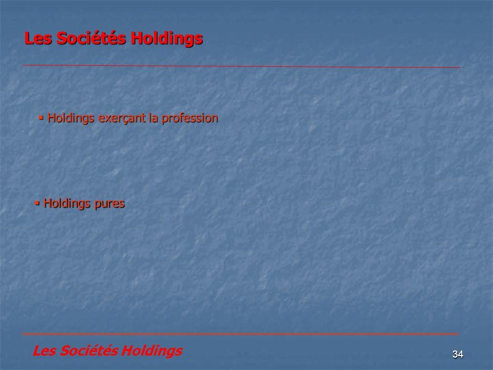 34 Les Sociétés Holdings Holdings pures Holdings pures Holdings exerçant la profession Holdings exerçant la profession _______________________________