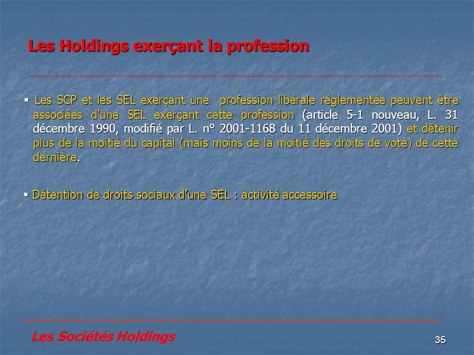 35 Les Holdings exerçant la profession Détention de droits sociaux dune SEL : activité accessoire Détention de droits sociaux dune SEL : activité acce