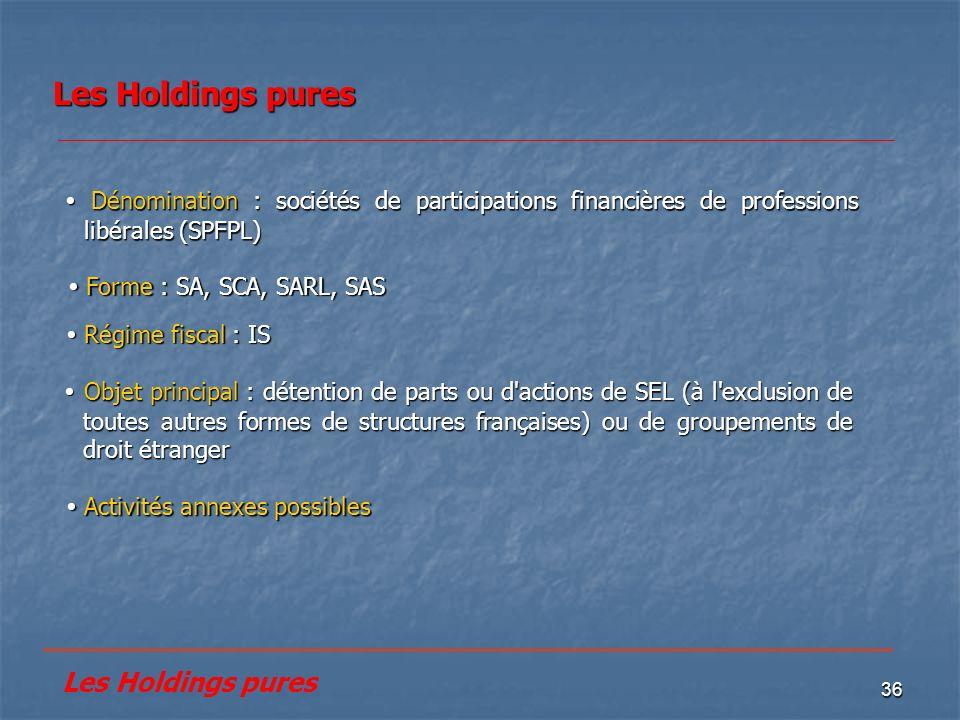 36 Les Holdings pures Activités annexes possibles Activités annexes possibles Dénomination : sociétés de participations financières de professions lib