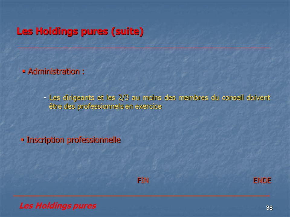 38 Les Holdings pures (suite) Inscription professionnelle Inscription professionnelle Administration : Administration : - Les dirigeants et les 2/3 au