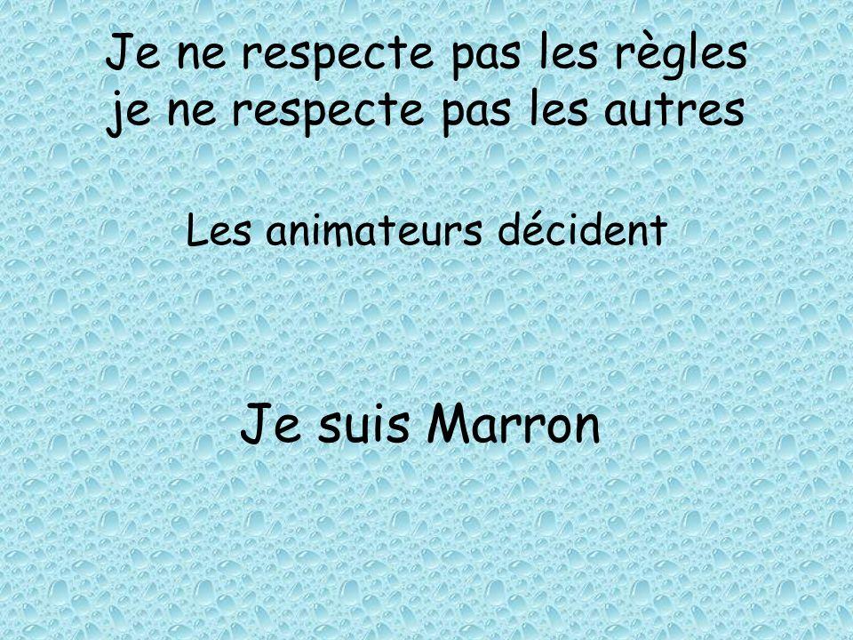 Je ne respecte pas les règles je ne respecte pas les autres Les animateurs décident Je suis Marron