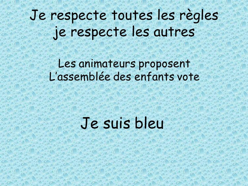 Je respecte toutes les règles je respecte les autres Les animateurs proposent Lassemblée des enfants vote Je suis bleu