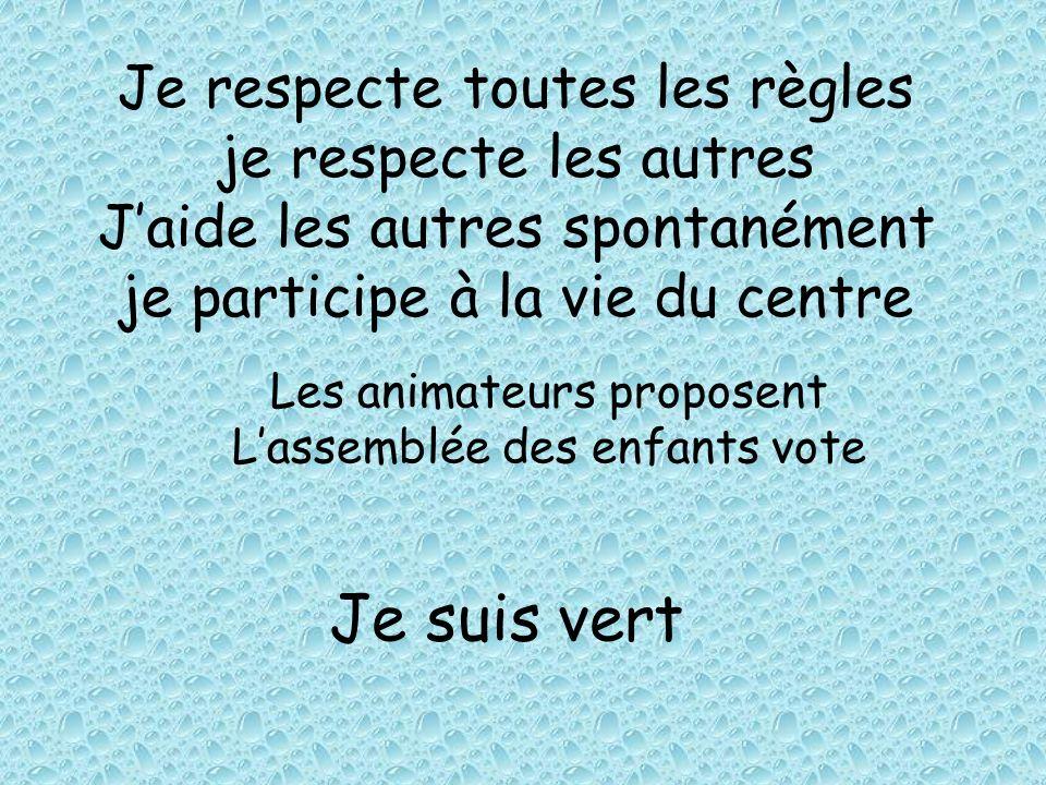 Je respecte toutes les règles je respecte les autres Jaide les autres spontanément je participe à la vie du centre Les animateurs proposent Lassemblée