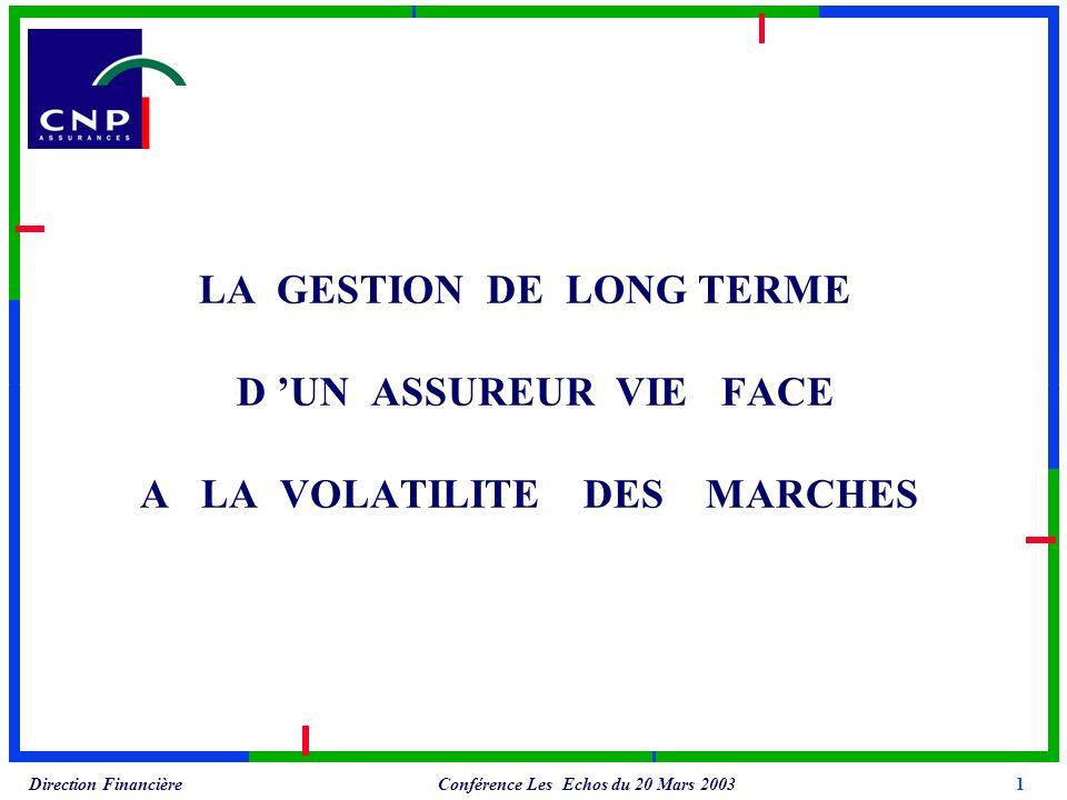 Conférence Les Echos du 20 Mars 2003 Direction Financière LA GESTION DE LONG TERME D UN ASSUREUR VIE FACE A LA VOLATILITE DES MARCHES 1