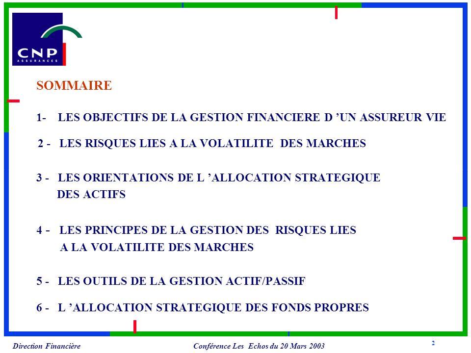 Conférence Les Echos du 20 Mars 2003 Direction Financière SOMMAIRE 1- LES OBJECTIFS DE LA GESTION FINANCIERE D UN ASSUREUR VIE 2 - LES RISQUES LIES A LA VOLATILITE DES MARCHES 3 - LES ORIENTATIONS DE L ALLOCATION STRATEGIQUE DES ACTIFS 4 - LES PRINCIPES DE LA GESTION DES RISQUES LIES A LA VOLATILITE DES MARCHES 5 - LES OUTILS DE LA GESTION ACTIF/PASSIF 6 - L ALLOCATION STRATEGIQUE DES FONDS PROPRES 2