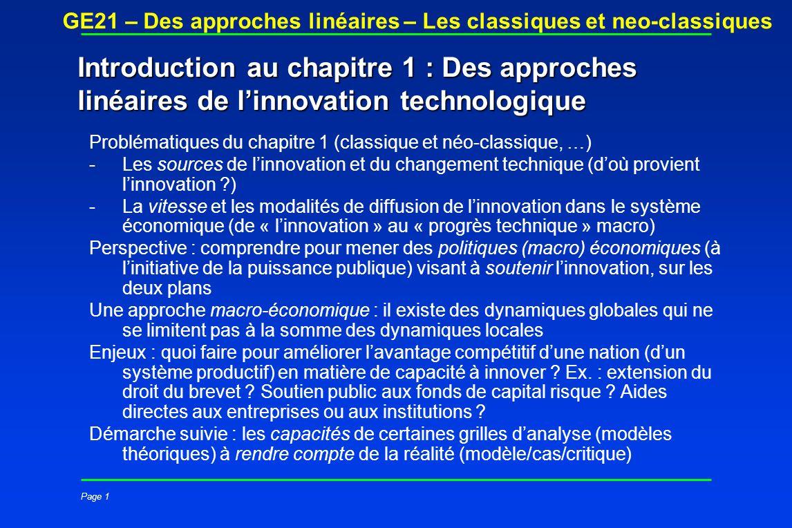 Page 1 GE21 – Des approches linéaires – Les classiques et neo-classiques Introduction au chapitre 1 : Des approches linéaires de linnovation technolog