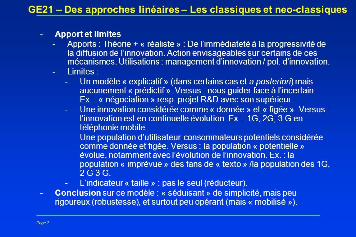Page 7 GE21 – Des approches linéaires – Les classiques et neo-classiques -Apport et limites -Apports : Théorie + « réaliste » : De limmédiateté à la p