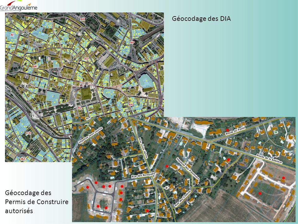 Géocodage des DIA Géocodage des Permis de Construire autorisés