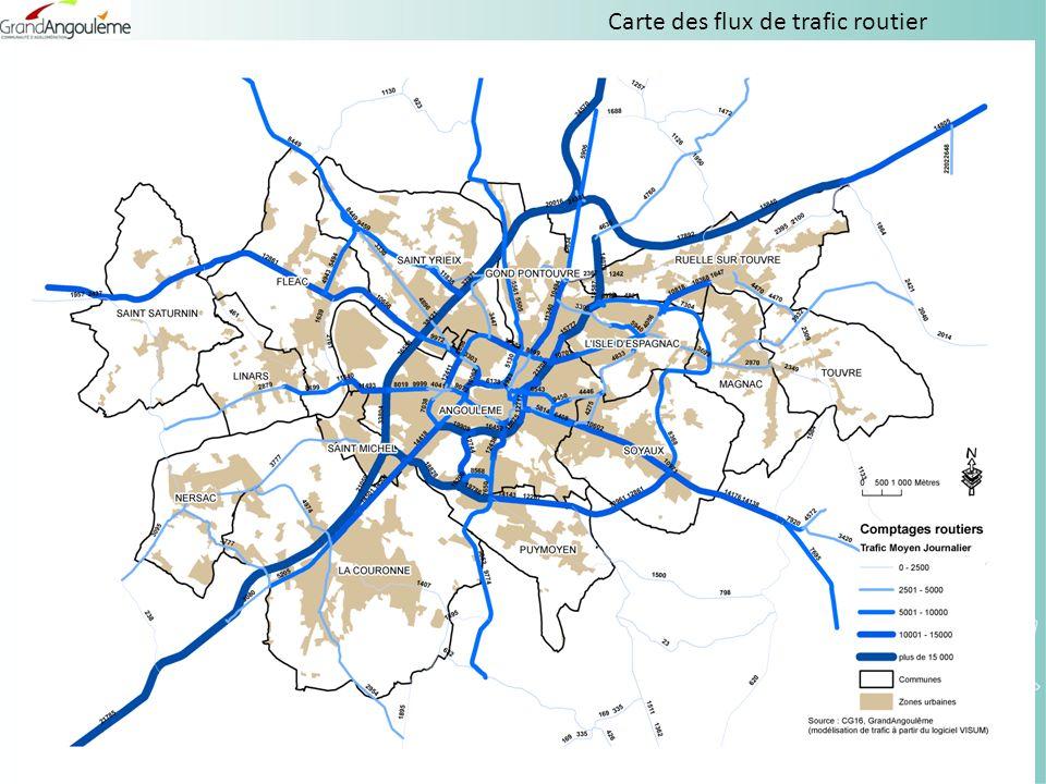 Carte des flux de trafic routier