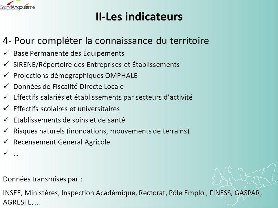 II-Les indicateurs 4- Pour compléter la connaissance du territoire Base Permanente des Équipements SIRENE/Répertoire des Entreprises et Établissements