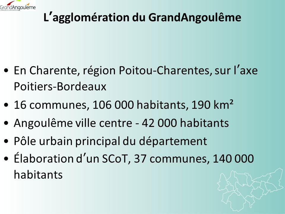 Lagglomération du GrandAngoulême En Charente, région Poitou-Charentes, sur laxe Poitiers-Bordeaux 16 communes, 106 000 habitants, 190 km² Angoulême ville centre - 42 000 habitants Pôle urbain principal du département Élaboration dun SCoT, 37 communes, 140 000 habitants
