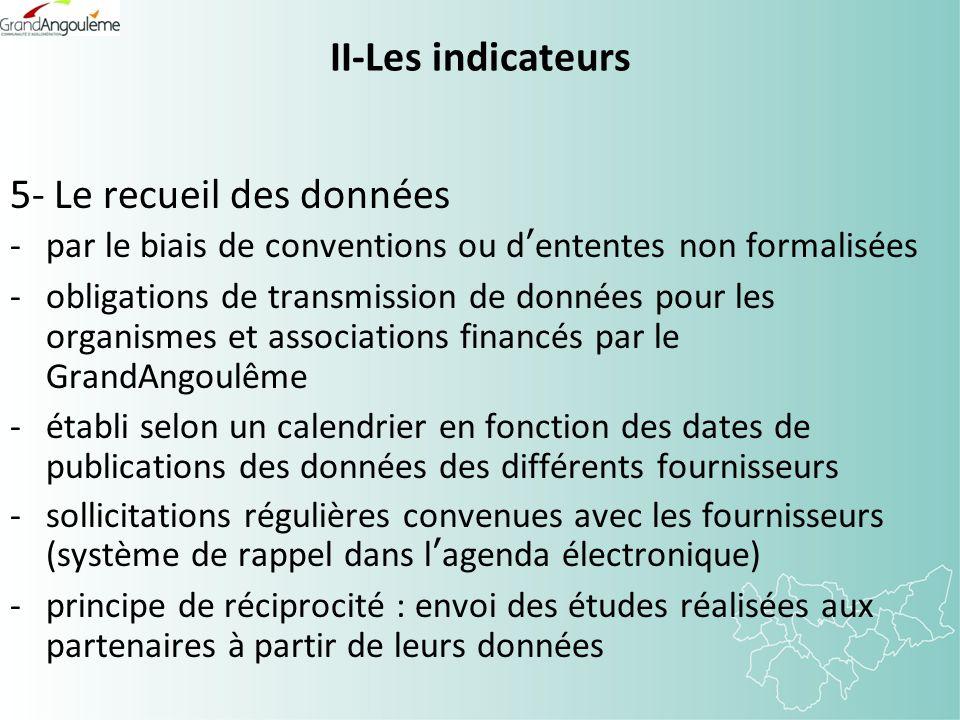 II-Les indicateurs 5- Le recueil des données -par le biais de conventions ou dententes non formalisées -obligations de transmission de données pour le
