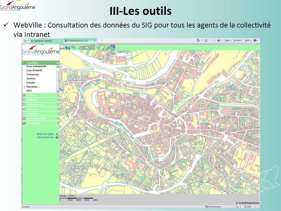 III-Les outils WebVille : Consultation des données du SIG pour tous les agents de la collectivité via Intranet
