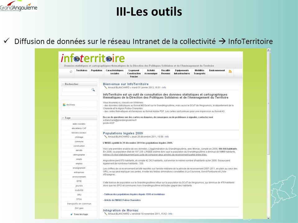 III-Les outils Diffusion de données sur le réseau Intranet de la collectivité InfoTerritoire