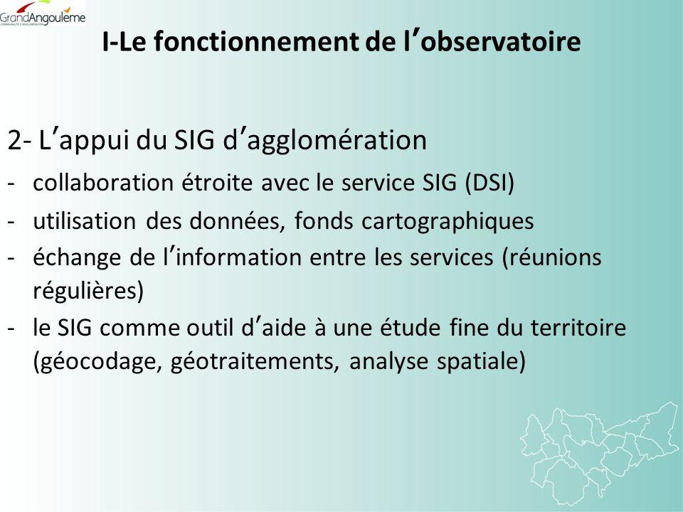 I-Le fonctionnement de lobservatoire 2- Lappui du SIG dagglomération -collaboration étroite avec le service SIG (DSI) -utilisation des données, fonds cartographiques -échange de linformation entre les services (réunions régulières) -le SIG comme outil daide à une étude fine du territoire (géocodage, géotraitements, analyse spatiale)