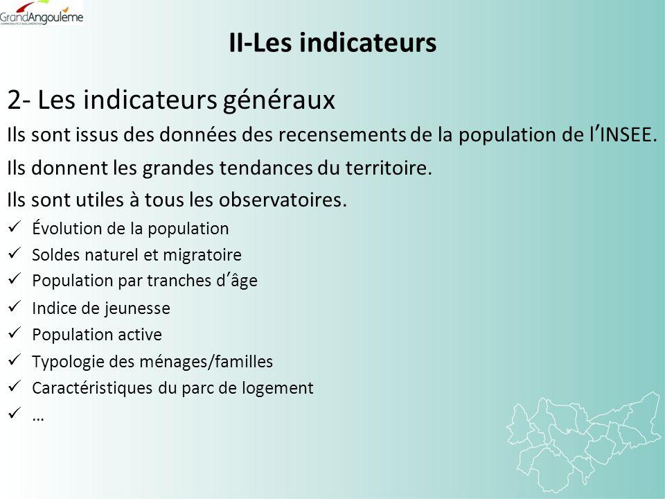 II-Les indicateurs 2- Les indicateurs généraux Ils sont issus des données des recensements de la population de lINSEE. Ils donnent les grandes tendanc