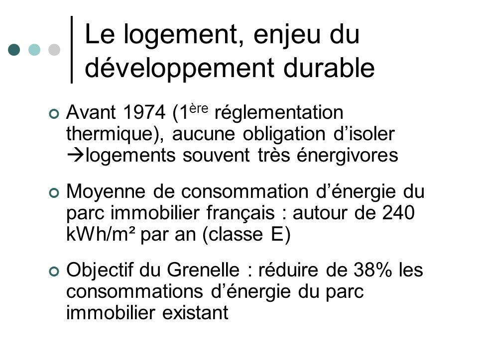 Le logement, enjeu du développement durable Avant 1974 (1 ère réglementation thermique), aucune obligation disoler logements souvent très énergivores
