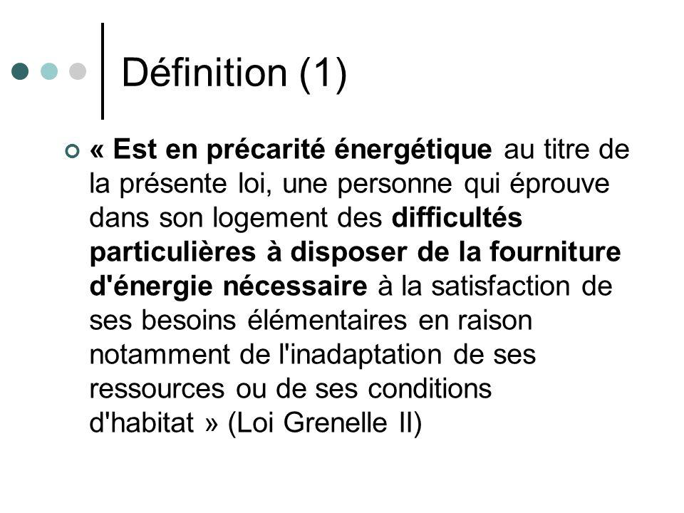 Définition (1) « Est en précarité énergétique au titre de la présente loi, une personne qui éprouve dans son logement des difficultés particulières à