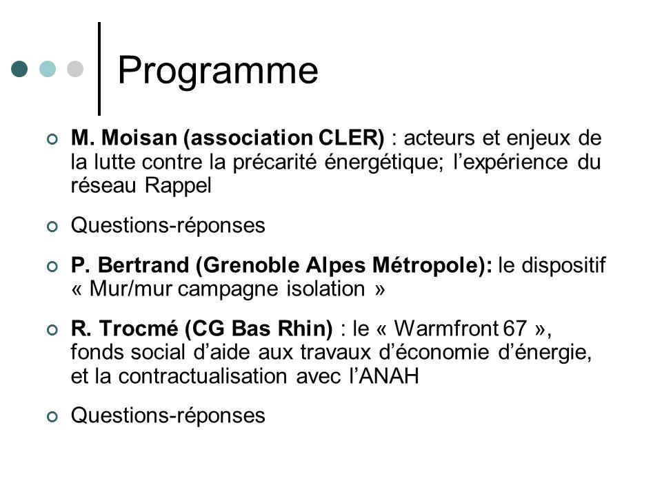 Programme M. Moisan (association CLER) : acteurs et enjeux de la lutte contre la précarité énergétique; lexpérience du réseau Rappel Questions-réponse