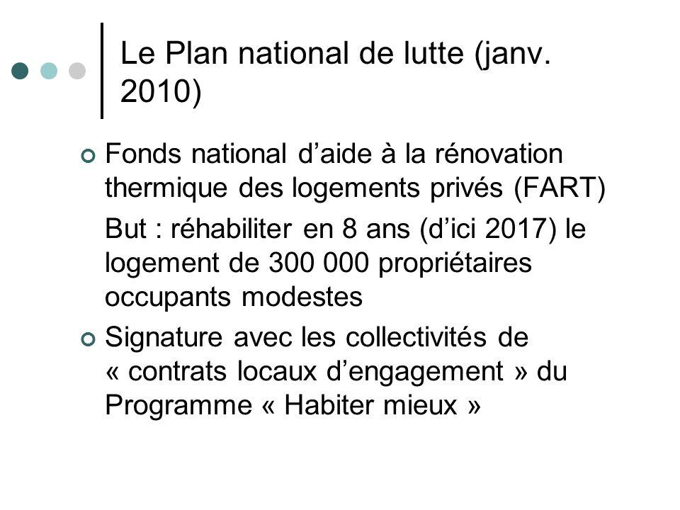 Le Plan national de lutte (janv. 2010) Fonds national daide à la rénovation thermique des logements privés (FART) But : réhabiliter en 8 ans (dici 201