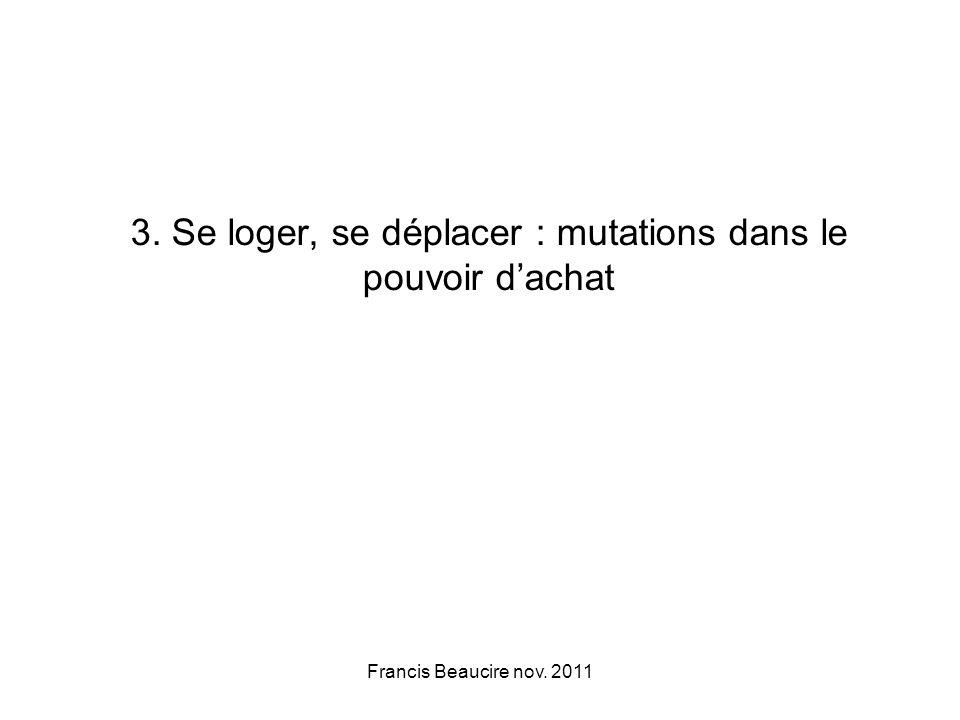 Francis Beaucire nov. 2011 3. Se loger, se déplacer : mutations dans le pouvoir dachat