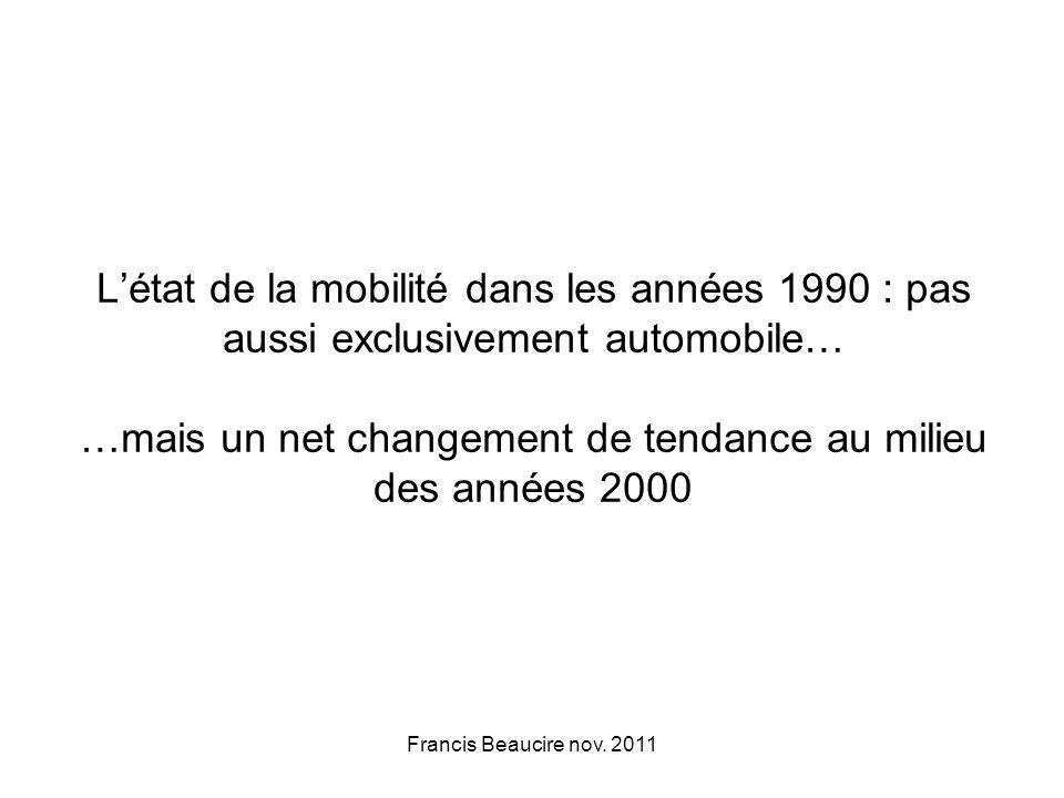 Létat de la mobilité dans les années 1990 : pas aussi exclusivement automobile… …mais un net changement de tendance au milieu des années 2000 Francis Beaucire nov.