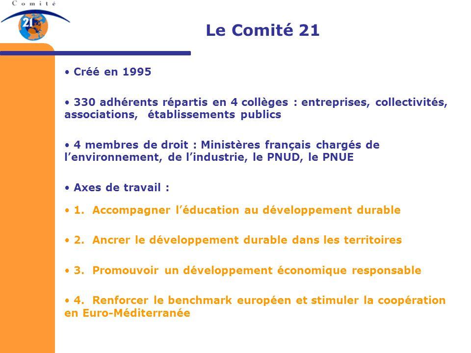 Créé en 1995 330 adhérents répartis en 4 collèges : entreprises, collectivités, associations, établissements publics 4 membres de droit : Ministères f