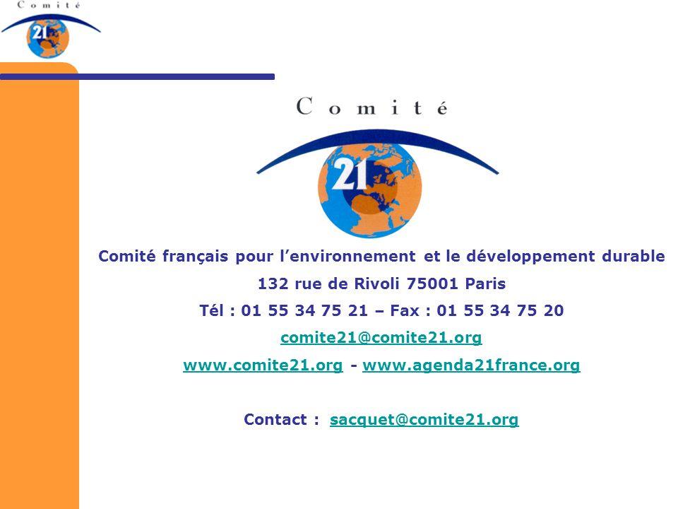 Comité français pour lenvironnement et le développement durable 132 rue de Rivoli 75001 Paris Tél : 01 55 34 75 21 – Fax : 01 55 34 75 20 comite21@com
