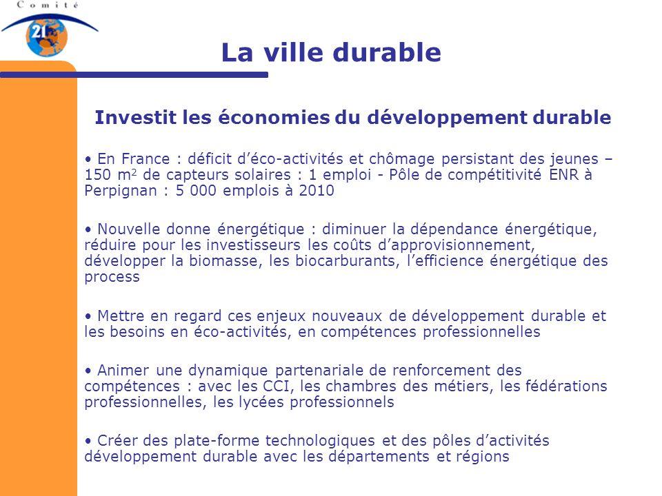 La ville durable Investit les économies du développement durable En France : déficit déco-activités et chômage persistant des jeunes – 150 m 2 de capt