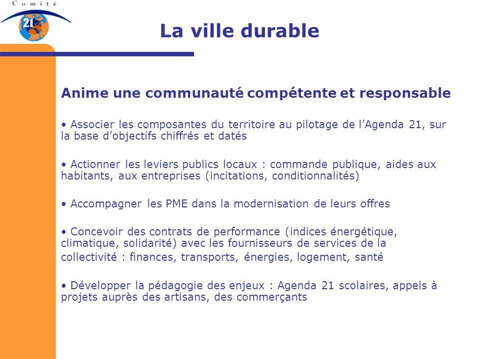 La ville durable Anime une communauté compétente et responsable Associer les composantes du territoire au pilotage de lAgenda 21, sur la base dobjecti