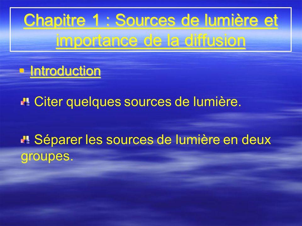 Chapitre 1 : Sources de lumière et importance de la diffusion Introduction Introduction Citer quelques sources de lumière. Séparer les sources de lumi