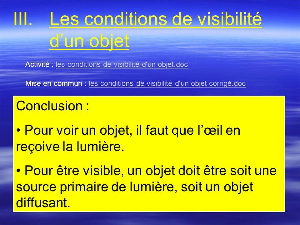 III.Les conditions de visibilité dun objet Activité : les conditions de visibilité d'un objet.docles conditions de visibilité d'un objet.doc Mise en c