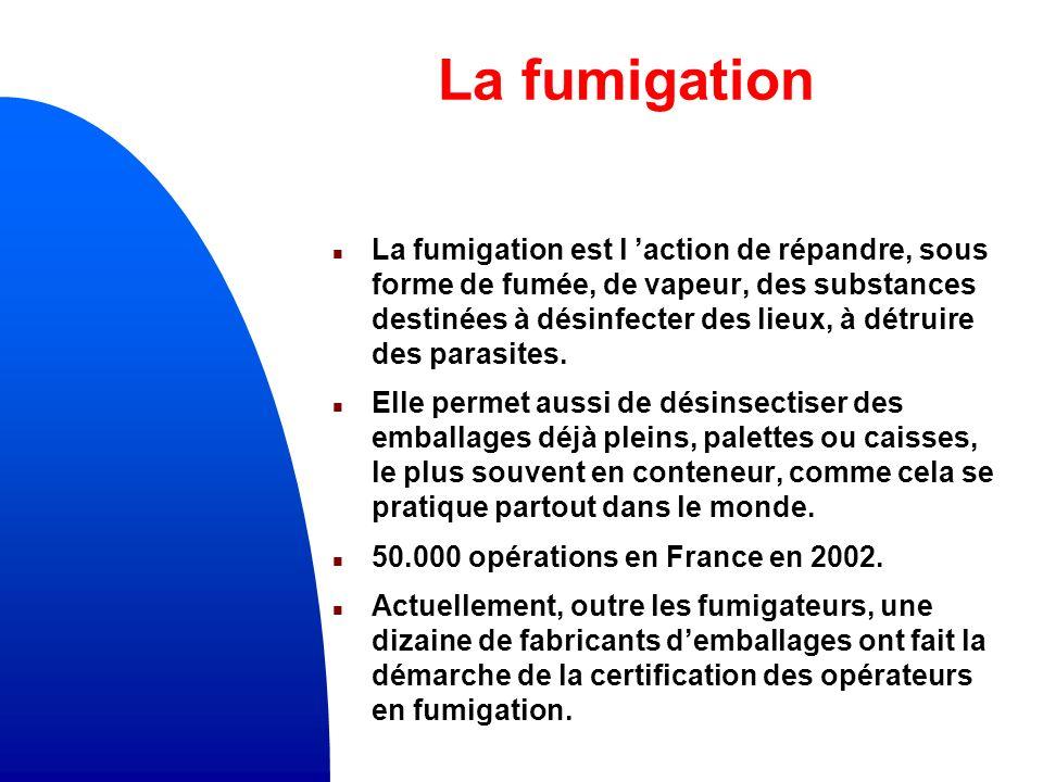 La fumigation n La fumigation est l action de répandre, sous forme de fumée, de vapeur, des substances destinées à désinfecter des lieux, à détruire des parasites.