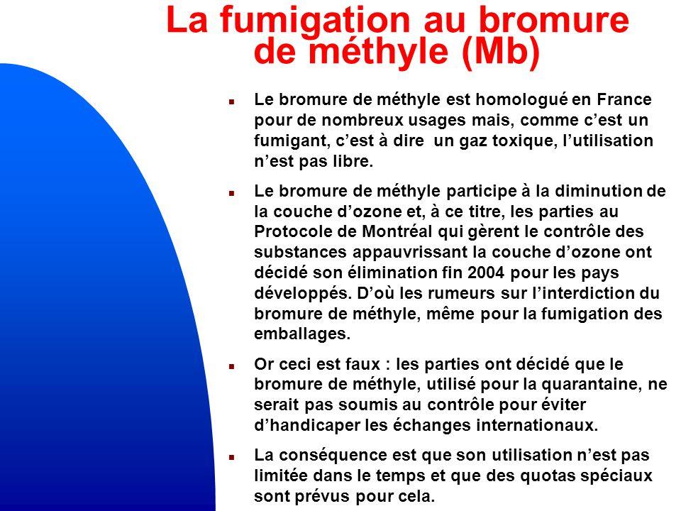La fumigation au bromure de méthyle (Mb) n Le bromure de méthyle est homologué en France pour de nombreux usages mais, comme cest un fumigant, cest à dire un gaz toxique, lutilisation nest pas libre.