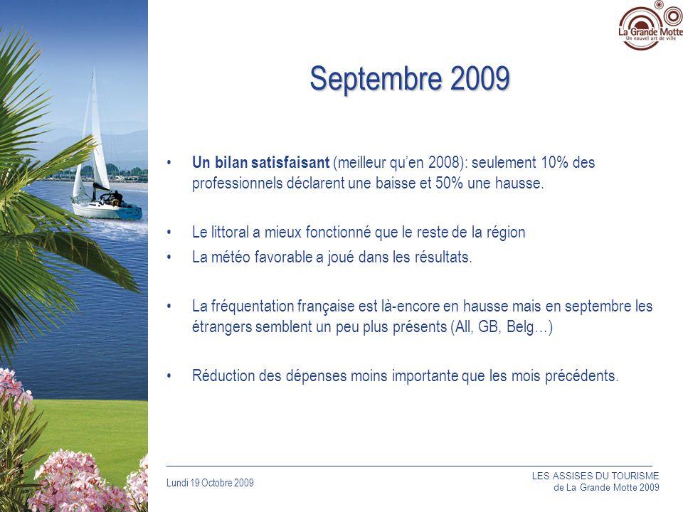 Lundi 19 Octobre 2009 _____________________________________________________________________________ Septembre 2009 Un bilan satisfaisant (meilleur quen 2008): seulement 10% des professionnels déclarent une baisse et 50% une hausse.