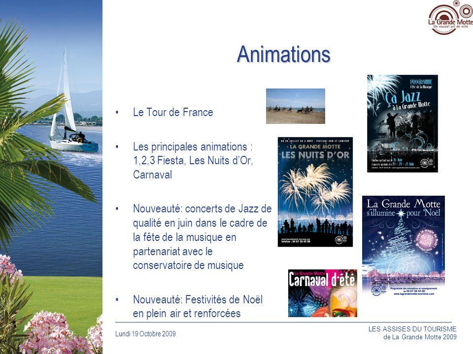 Lundi 19 Octobre 2009 _____________________________________________________________________________ Animations Le Tour de France Les principales animations : 1,2,3 Fiesta, Les Nuits dOr, Carnaval Nouveauté: concerts de Jazz de qualité en juin dans le cadre de la fête de la musique en partenariat avec le conservatoire de musique Nouveauté: Festivités de Noël en plein air et renforcées LES ASSISES DU TOURISME de La Grande Motte 2009