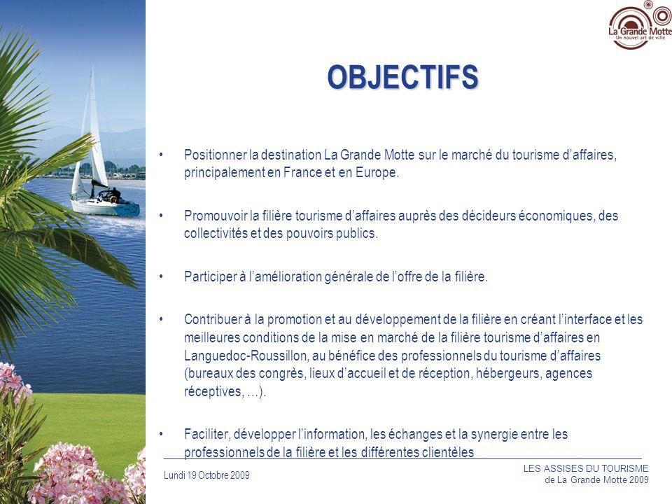Lundi 19 Octobre 2009 _____________________________________________________________________________ OBJECTIFS Positionner la destination La Grande Motte sur le marché du tourisme daffaires, principalement en France et en Europe.