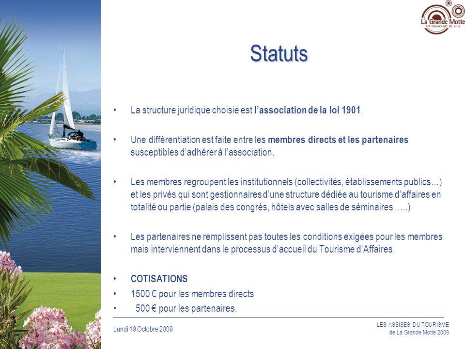 Lundi 19 Octobre 2009 _____________________________________________________________________________ LES ASSISES DU TOURISME de La Grande Motte 2009 Statuts La structure juridique choisie est lassociation de la loi 1901.