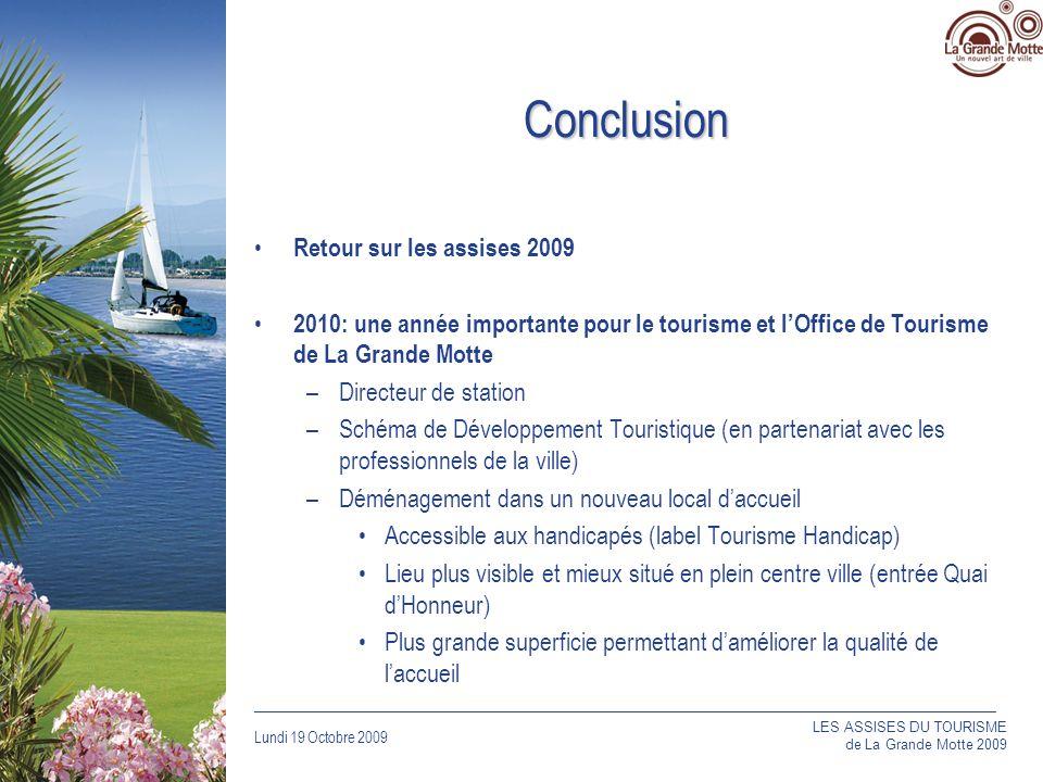 Lundi 19 Octobre 2009 _____________________________________________________________________________ Conclusion Retour sur les assises 2009 2010: une année importante pour le tourisme et lOffice de Tourisme de La Grande Motte –Directeur de station –Schéma de Développement Touristique (en partenariat avec les professionnels de la ville) –Déménagement dans un nouveau local daccueil Accessible aux handicapés (label Tourisme Handicap) Lieu plus visible et mieux situé en plein centre ville (entrée Quai dHonneur) Plus grande superficie permettant daméliorer la qualité de laccueil LES ASSISES DU TOURISME de La Grande Motte 2009