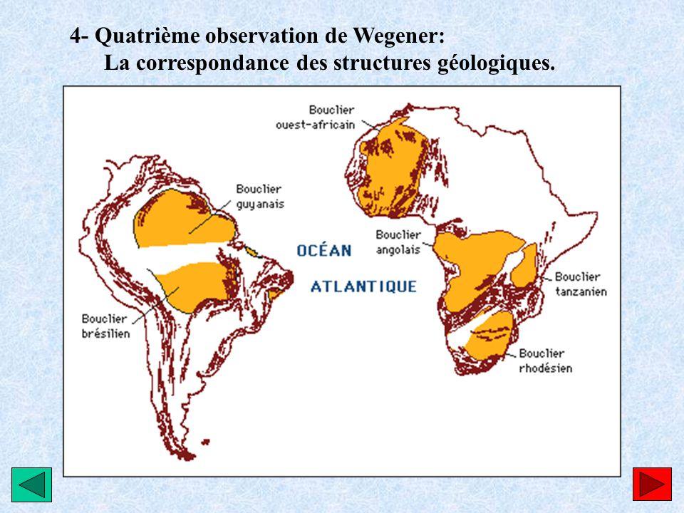 4- Quatrième observation de Wegener: La correspondance des structures géologiques.