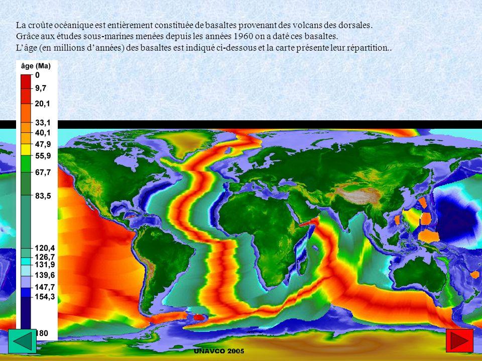 La croûte océanique est entièrement constituée de basaltes provenant des volcans des dorsales. Grâce aux études sous-marines menées depuis les années