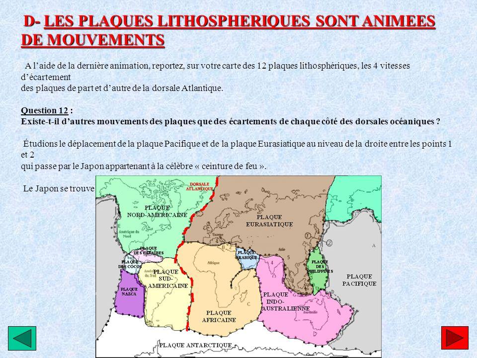 D- LES PLAQUES LITHOSPHERIQUES SONT ANIMEES DE MOUVEMENTS A laide de la dernière animation, reportez, sur votre carte des 12 plaques lithosphériques,