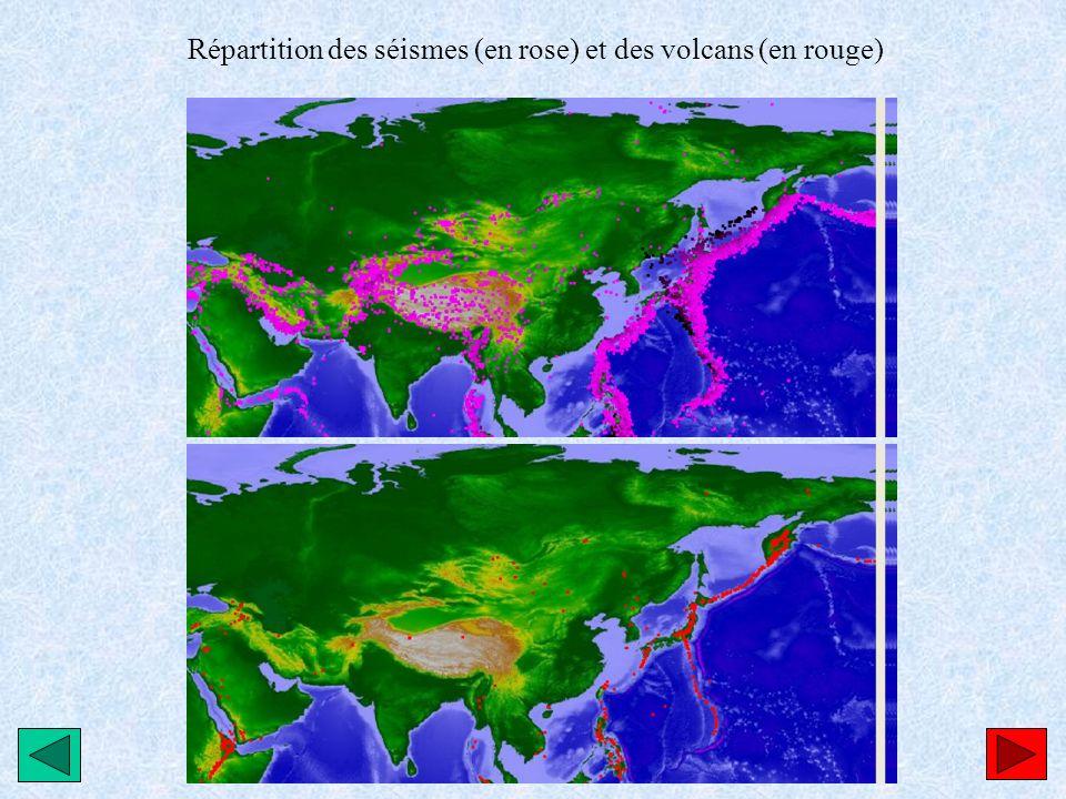 Répartition des séismes (en rose) et des volcans (en rouge)