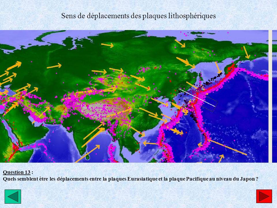 Sens de déplacements des plaques lithosphériques Question 13 : Quels semblent être les déplacements entre la plaques Eurasiatique et la plaque Pacifiq