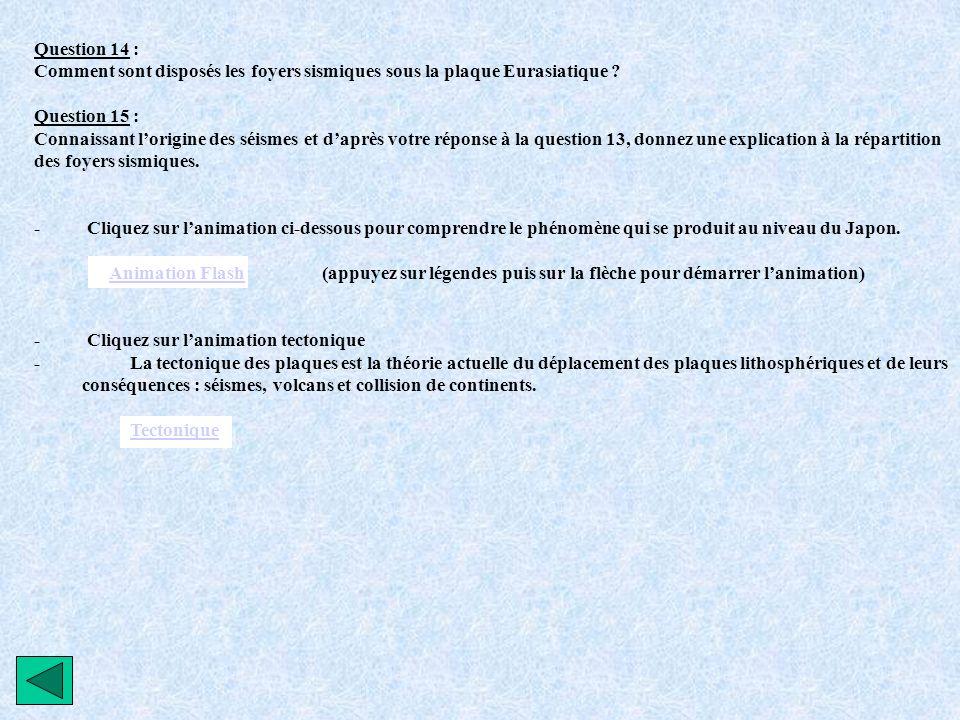 Question 14 : Comment sont disposés les foyers sismiques sous la plaque Eurasiatique ? Question 15 : Connaissant lorigine des séismes et daprès votre