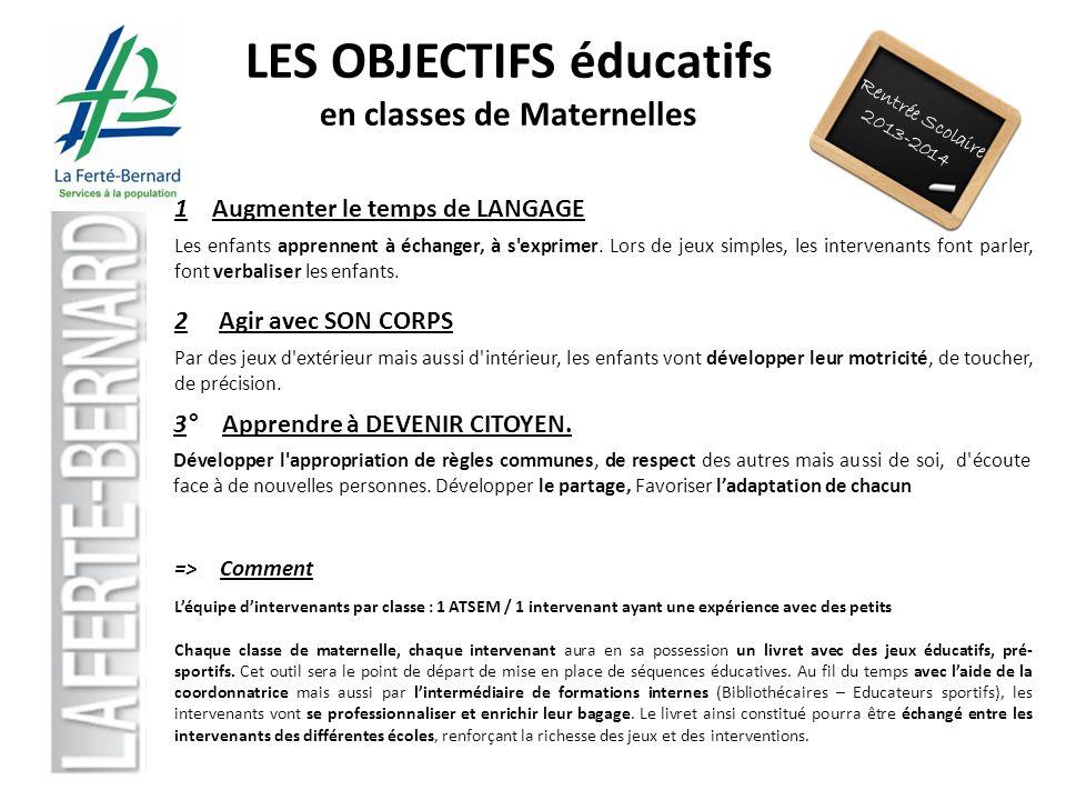 Rentrée Scolaire 2013-2014 LES OBJECTIFS éducatifs en classes de Maternelles 1 Augmenter le temps de LANGAGE Les enfants apprennent à échanger, à s'ex