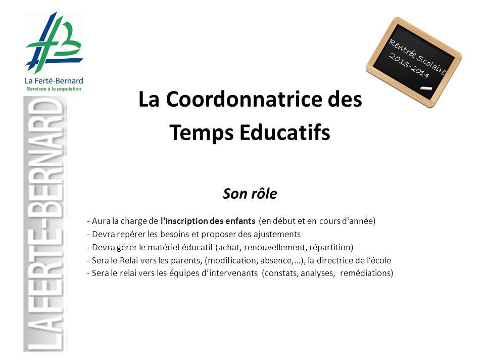Rentrée Scolaire 2013-2014 La Coordonnatrice des Temps Educatifs Son rôle - Aura la charge de l'inscription des enfants (en début et en cours d'année)