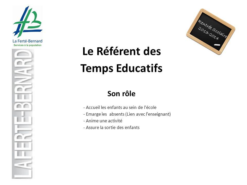 Rentrée Scolaire 2013-2014 Le Référent des Temps Educatifs Son rôle - Accueil les enfants au sein de l'école - Emarge les absents (Lien avec lenseigna